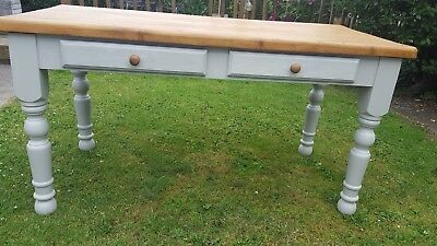 Farmhouse Pine Dining Table Painted Shabby chic style. 5ft