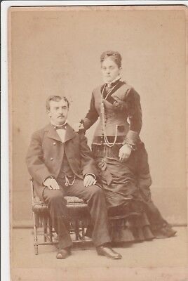 Cabinet Card Victorian Couple,1879,gold Chains,s.f.,ca,miner Photographer Peters