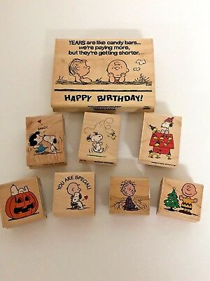 Peanuts Wood Mounted Rubber Stamps Lot Of 8 Brand New **super Cute Collection**