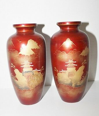 """Vtg Pair Lacquer Brown Candle Holder Oriental Landscape in Gold - 7"""""""