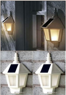 Set Of 2 Black Wall Mounted Solar Powered Led Light Lanterns Outdoor Lamp Porch