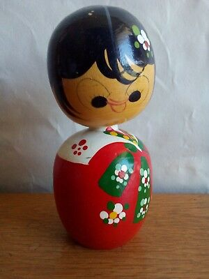 Beautiful Vintage Japanese Kokeshi 4.5 inch Doll -Turned Wood - Hand Painted # 5