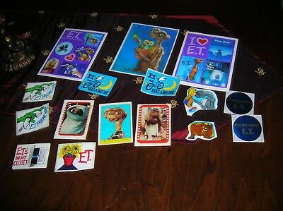 RARE LARGE LOT of 1980's Vintage Collectible Stickers E. T.  MOVIE 40 Years Old