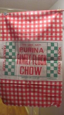 Vintage Brand New Never Used Purina Family Flock Chow 100 Lb Two Sided Sack