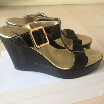 Russell and Bromley Black Patent leather stretch wedge mule sandals Size 8 Eu 41