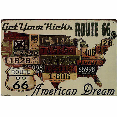 Retro Blechschild Get your kicks Route 66 Nostalgie Metallschild US Kennzeichen