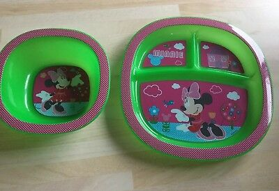 Minnie Mouse Munchkin baby Plate And Bowl Anti-slip Feeding Set Green Pink