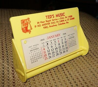 1959 Vintage Desk Calendar Ted's Music Columbus Ga. Weighted to Rock Old Stock