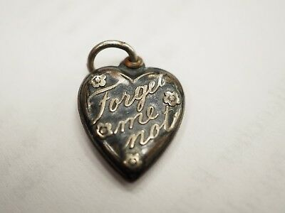 Antique / Vintage Sterling Silver Puffy Heart *forget-Me-Not* Charm Pendant