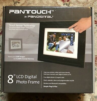 "Digital Photo Frame 8"" LCD 1GB PANTOUCH Edge Sensor Technology by PanDigital"