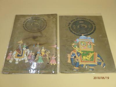 2 Kalki Painting Handmade Tenth Vishnu Avatar Indian Hindu Deity Stamp Paper Art