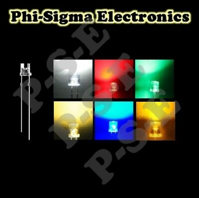 Flat Top WIde Angle LEDs 3mm/5mm : Red,Blue,Green,Yellow,White,Orange,Pink,UV