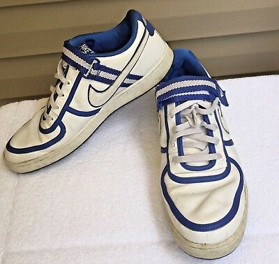 e700afdeadce Men s NIKE Sneakers SZ 13 Tennis Shoes Athletic White Leather with Blue  Lace Up