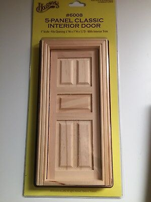 Dollhouse Miniatures Unfinished 5-Panel Classic Interior Door, New, 1:12