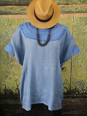 High Quality Blue Hand Woven & Embroidered Huipil Deer Pattern Coban Guatemala