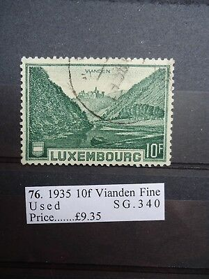 1935 Luxembourg 10f Deep Green. SG340. Fine used.