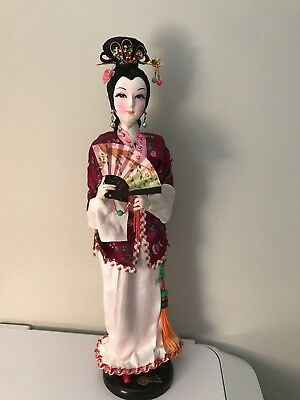 Vintage Taiwanese Doll With Fan Beautiful Made In Taiwan Republic Of China