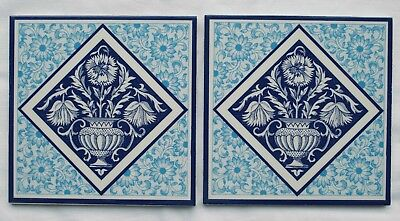 Pair of Reproduction Tiles Minton Style blue unused