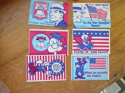 Lot of 6 Popeye, Dick Tracy & Bozo the Clown Patriotic Stickers 1975 Unused