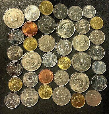 Old Singapore Coin Lot - 1967-PRESENT - 36 Excellent Exotic Coins - Lot #618
