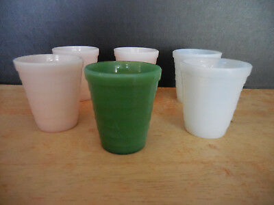 Akro Agate Child's Tumblers - Stacked Design - Lot Of 6 - White, Pink & Greeen