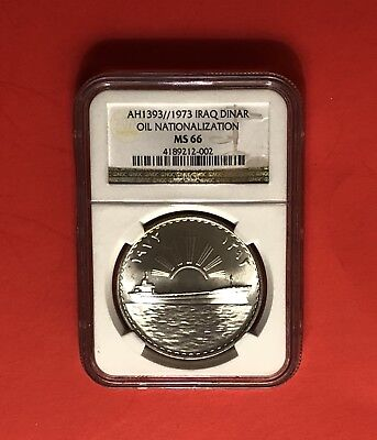 Iraq-1973(Ah1393)1 Dinar Silver Coin (Oil Nationalization),graded By Ngc 66.rare