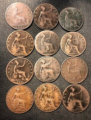 Vintage Great Britain Coin Lot - 12 OLDER Half Pennies - 1861-1920 -Lot #618