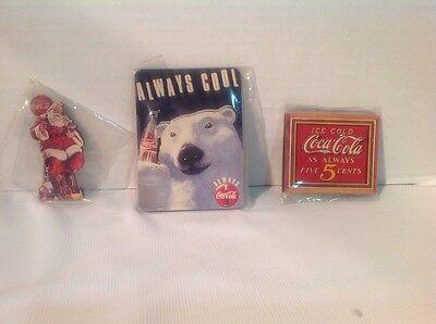 Coca Cola Magnets Lot of Three 1994 Original NEW FREE Shipping LOW Prices