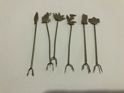 6pc Taxco Vintage Silver Cocktail Forks