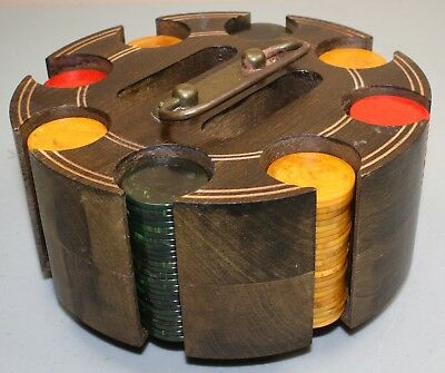 Vintage Bakelite Swirl 196 Poker Chips + Holder 49 Red 50 Green 97 Butterscotch