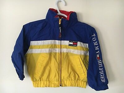 Vtg 90s Tommy Hilfiger Coat Jacket Youth Sailing Gear Lotus Flag Spell Out