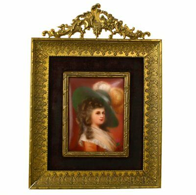 Hutschenreuther Duchess of Devonshire hand painted plaque  ormolu frame Lady Di
