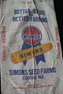 Simons Seed Farms Hybrid Seed Corn Sack Elkhorn Wisconsin Wis Wi Sign