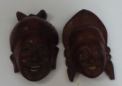 Vintage Wooden Mini Mask Wall Hangings