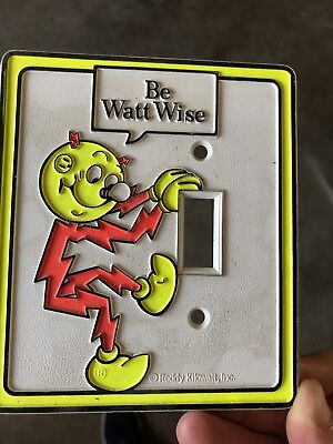 Vintage REDDY KILOWATT GAS N ELECTRIC LIGHT SWITCH COVER RARE LIGHTSWITCH