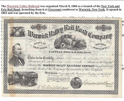 Stk-Warwick Valley RR Co. 1880 New York  4 vigs Became Lehigh & Hudson River RR