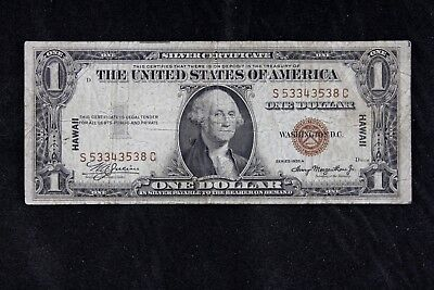 $1 HAWAII 1935A brown seal silver certificate S53343538C one dollar FREE SHIP.