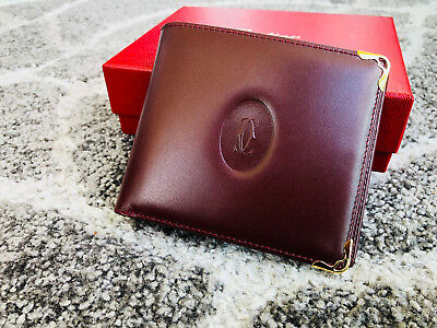 Must De Cartier Wallet Burgundy Brand New in Box Authentic Ship Fast