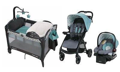 Graco Baby Stroller Car Seat Infant Playard Crib Travel System Combo Set