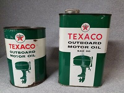 Texaco Outboard Motor Oil Quart Cans Nice Condition 1950s