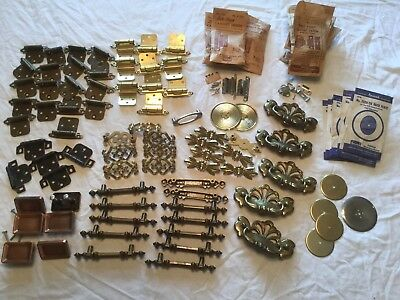 Lot Of 80 Vintage Drawer Pulls, Cabinet Hinges, Back Plates, Amerock National