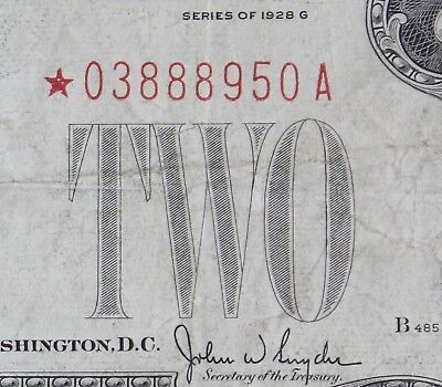 $2 1928G Star large red seal US Note *03888950A two dollar, series G, FREE SHIP.