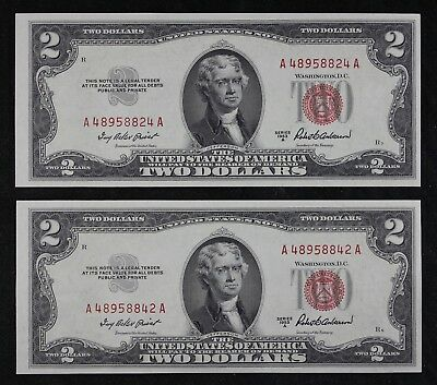 Pair of $2 1953A CU red seal US Notes A48958824 & 42A two dollar, FREE SHIPPING