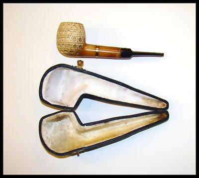 Great Vintage Lattice Meerschaum Banded Pipe With Case.