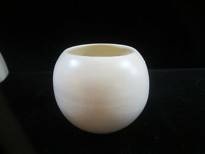 Vintage Mid Century USA Pottery Round Ivory Pottery Rose Bowl Planter