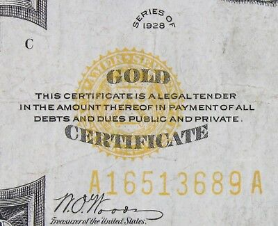 $20 1928 gold certificate A16513689A Key single year issue twenty dollar FRESHIP