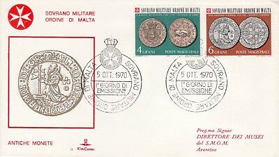 Sovereign Military Order of Malta SMOM FDC 1970 Coins (a)