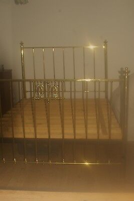 Antique Brass Bed Paris 1890 - 1910 Queen Size with Tulip motifs - Restored