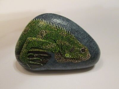 Green Iguana Lizard Reptile hand painted on a rock by Ann Kelly