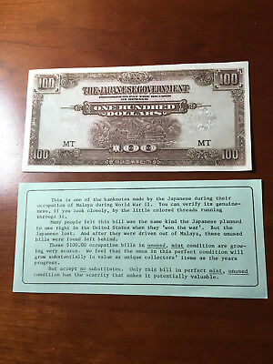 1944 ND Malaya 100 Dollars Japanese Occupation WWII Uncirculated